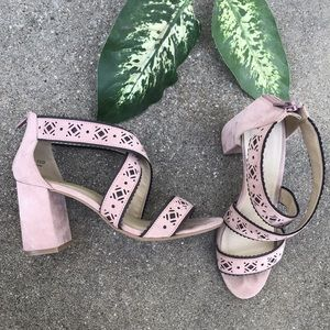 Blush Pink Mauve Strappy Sandals / Heels